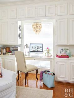 Small space aside, if you can accent your home office with chandelier lighting, you should. Look at the difference this cute chandelier makes over a work space. It transforms the area from drab to fab, adding style and interest to a basic bay window.