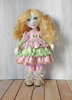Textile doll, Fabric Doll handmade. Beauty doll, art doll, lovely doll. Cute doll. Soft doll. Cloth doll. Gift. Nursery doll. Interior doll. by EvaiDolls on Etsy