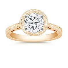 Halo Solitaire Yellow Gold Engagement Ring shown with diamond center. Available in your choice of ruby, sapphire or diamond center.