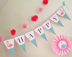 Pink Flamingo Birthday Printable Party Set by TracyAnnPrintables