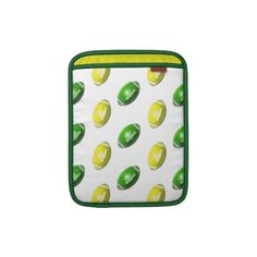 Yellow and Green Football Pattern Sleeve For iPads