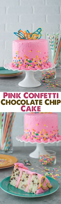 This pink confetti chocolate chip cake is so fun and and colorful. There are mini chocolate chips inside the cake!
