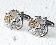 Zenith Steampunk Cufflinks - Made with Genuine Zenith Watch Movements. Available at TimeInFantasy $130 USD