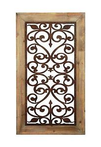 Carved Garden Gate Wall Panel Art Decor Framed Open Scrolled Wood Metal Grill 46