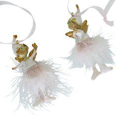 Engel für die Deko zu Weihnachten in den Trendfarben rosa -weiß mit gold.