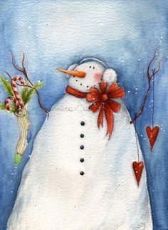 Adorable Christmas art print of a snowman. Watercolor painting, by thewhitebenchart