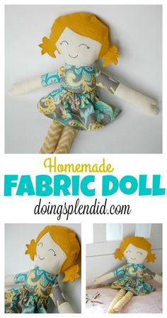 Homemade Fabric Dolls are a fun sewing project and can be great gift for… Doll Patterns Free, Doll Sewing Patterns, Sewing Dolls, Free Pattern, Handmade Dolls Patterns, Fabric Doll Pattern, Fabric Dolls, Rag Dolls, Dolls Dolls