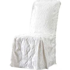 Damask Side Chair Slipcover in White