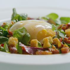 A picture of Delia's Warm Poached Egg Salad with Frizzled Bacon and a Sizzling Sherry Vinegar Dressing recipe