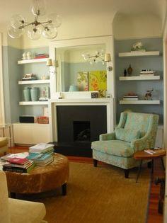 new family room ideas on pinterest floating shelves tv over fireplace and fireplace shelves. Black Bedroom Furniture Sets. Home Design Ideas