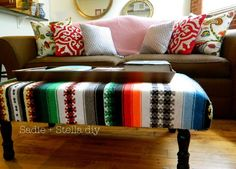 Mexican Blanket Upholstered Bench
