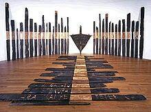 This is a large art installation titled 'Black phoenix', created by NZ artist Ralph Hotere in Nz Art, Art For Art Sake, Maori Designs, New Zealand Art, Maori Art, Environmental Art, Conceptual Art, Installation Art, Art Installations