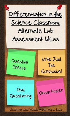 Differentiation in the Science Classroom: Alternate Lab Assessment Ideas! Help your students show you what they know without writing a full lab report. Blog post by Science and Math with Mrs. Lau
