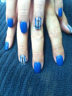 Shellac rapture blue nails with anchor designs! Super cute and great for summer!!