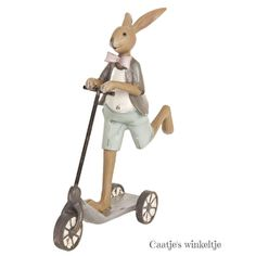 Decoratie konijn op step jongenHele leuke decoratie, natuurlijk niet alleen voor Pasen, deze jongens konijn in actie op de step.Er is ook een meisje konijn op ;step verkrijgbaar, leuk als set ter decoratie! ;Materiaal: Poly resinAfmeting: 15 x 5 x 18 cmMerk: Clayre & EefKleur: multikleurVerzending: pakketpost