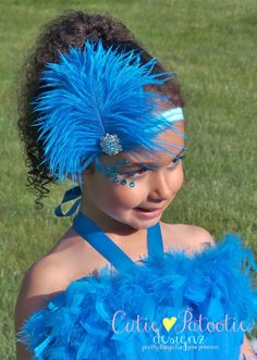 Stretchy Feather Headband - Turquoise Blue - Blue Macaw Bird Costume Accessory - Jungle Jewel - Fits toddler to adult