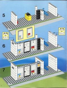 LEGO 6378 Service Station instructions displayed page by page to help you build this amazing LEGO City set Lego Structures, Modele Lego, Lego City Sets, Good Old Times, Cool Lego Creations, Lego Projects, Lego Building, Lego Brick, Legos