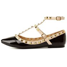 Wild Diva Lounge Studded Pointed Toe T-Strap Flats ($33) ❤ liked on Polyvore featuring shoes, flats, black, pointed-toe flats, flat shoes, pointed flats, studded t strap flats and black pointy toe flats