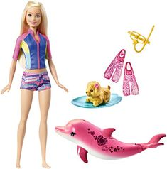 The Barbie Dolphin Magic Snorkel Fun doll is ready for a swimming adventure. Barbie's top and shorts change color with warm water. Use her snorkel mask and swim fins to help Barbie explore the ocean with her dolphin friend. Mattel Barbie, Baby Barbie, Pink Barbie, Barbie Party, Friends Set, Cute Friends, Lego Friends, Dauphin Rose, Pink Dolphin