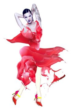 """LIQUID red dress (by: Sharonnnnnn)"" by sharonnnnnn ❤ liked on Polyvore featuring art"