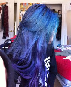 Blue ombre hair color, from teal blue to dark purple~ incredible combination of blue,green and purple hair color