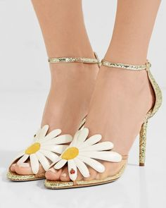 Charlotte Olympia - Margherite Appliquéd Mesh And Glittered Leather Sandals - Gold Heels Outfits, Wedding Heels, Fashion Heels, Spring Shoes, Charlotte Olympia, Black Rings, Metallic Leather, Low Heels, Leather Sandals