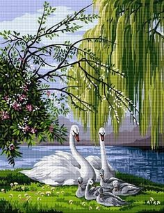 Max Webber ~ Sunday Family Outing Swan Pictures, Pictures To Paint, Pretty Pictures, Swans, Landscape Artwork, Colorful Drawings, Wildlife Art, Bird Art, Beautiful Birds
