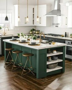 Green Kitchen Island, Dark Green Kitchen, Industrial Kitchen Island, Rustic Kitchen, Kitchen White, Gold Kitchen, Glass Kitchen, Refacing Kitchen Cabinets Cost, Kitchen Cabinet Styles