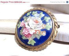 Art Deco Limoges Porcelain Brooch Floral Pattern by OurBoudoir, $58.00