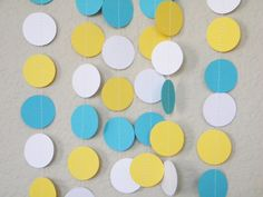 Yellow White Turquoise Party Decoration Paper Garland Birthday Party, Nursery, Baby or Bridal Shower 10 feet on Etsy, $10.50