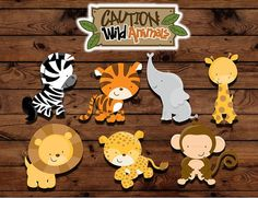 Zoo animal cupcake toppers animal print por MyHeartnSoulBoutique