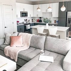 Open Kitchen And Living Room, Small Living Rooms, Home Living Room, Apartment Living, Living Room Designs, Living Room Decor, Cozy Living, Dallas Apartment, Small Living Dining