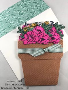 A Pot of Flowers for the Pals Blog Hop | Just Stampin' Fun Fold Cards, Folded Cards, Box Of Sunshine, Blender Pen, Stampin Pretty, Pocket Cards, Card Envelopes, Paper Pumpkin, Card Maker