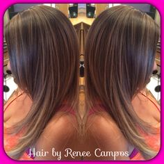 Ash brown base with highlighted ombré
