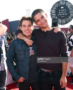 Actors Dylan Sprayberry (L) and Tyler Posey attend the 2014 MTV Video Music Awards at The Forum on August 24, 2014 in Inglewood, California.