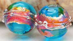 Handmade lampwork beads, made to order, rounds, transparent aquamarine blue pink yellow fuschia purple silver opal copper gold