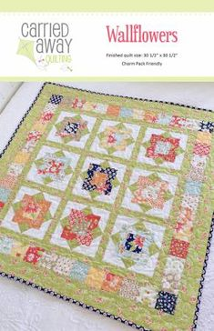 Wallflowers is a charm pack friendly wall hanging or table topper measuring 30 x 30 Nine cheerful flowers are sounded by leafy green sashing and a sweet scrappy border. The pattern features Coney Island by Fig Tree & Company for Moda. Small Quilts, Mini Quilts, Baby Quilts, Scrappy Quilts, Layer Cake Quilts, Charm Pack Quilts, Halloween Fabric, Quilting Projects, Quilting Ideas