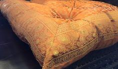Cream Gold Brocade floor sitting Cushion, meditation pillow, floor ...