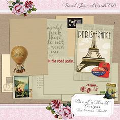free travel theme journal cards for project life