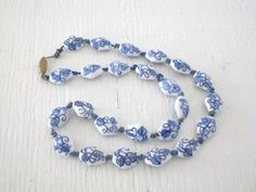 Ceramic Bead Necklace Blue and White Vintage Asian Mid Century Knotted Cord GallivantsVintage Gift Idea by GallivantsVintage on Etsy