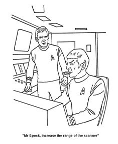 Captain Kirk and Spock Coloring page