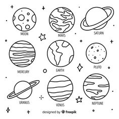 Collection of colourful planets from solar system | Free Vector Space Drawings, Mini Drawings, Cute Easy Drawings, Cool Art Drawings, Drawings On Hands, Simple Doodles Drawings, Tattoo Drawings, Easy Doodle Art, Doodle Art Drawing