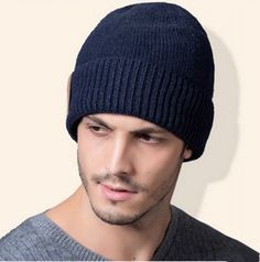 Warm knit beabie hat for men casual thick fleece winter hats
