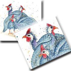 Guinea Fowl Heads by TheSkinnyCardCompany on Etsy