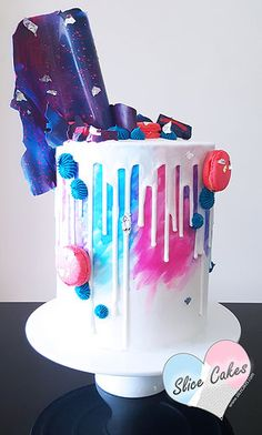 Recreation of our famous watercolour drip cake, with a hint of neon Melbourne, Australia - Cake Artist www.slicecakes.com