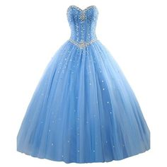 Amazon.com: Erosebridal Prom Gown Tulle Sweetheart Beaded Quinceanera... ❤ liked on Polyvore featuring dresses, gowns, prom dresses, blue dress, blue prom dresses, beaded gown and beaded prom gown