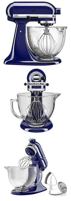 Mixers Countertop 133701: New Kitchenaid Ksm105gbcbu Cobalt Blue Tilt Head  Stand Mixer With Glass