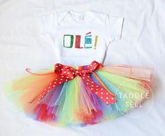 OLE Tutu Set - T-Shirt and Tutu Skirt - Cinco de Mayo, Fiesta Party, Newborn to 5T