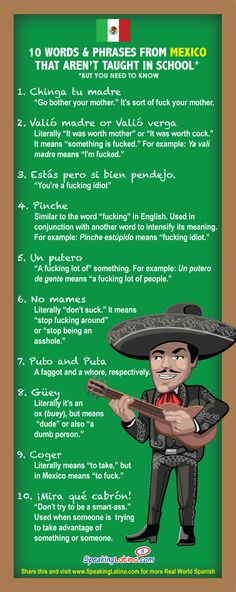 10 Mexican Spanish Swear Words and Phrases Not Taught in School #Infographic | Even if you don't say these expressions, you will hear them and you might be wondering what they mean.