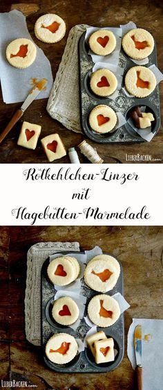 Rotkehlchen-Linzer mit Hagebuttenmarmelade / Kekse backen